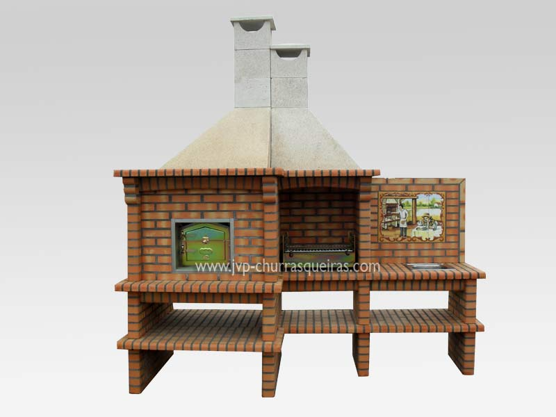 BBQ Grill 117, BBQ Ovens, BBQ with Oven, Manufacture Garden Brick Barbecue Grill, BBQ in refractory bricks, Brick barbecues Grill, BBQ, churrasqueiras, Outdoor Barbecue Grill, charcoal barbecue grill, outdoor barbecue grills, charcoal grill, Barbecue and Pizza Oven, Barbecue Grill, Churrasqueiras, bbq with bricks