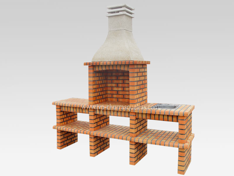 BBQ Grill 214, Manufacture Barbecue Grill, BBQ in refractory bricks, Brick barbecues Grill, Outdoor Barbecue Grill, Brick barbecue grill, Garden barbecue grills, charcoal grill, Barbecue Grill, Churrasqueiras, bbq with bricks